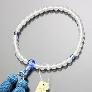 数珠 女性用 約7ミリ ミルキークォーツ ブルークォーツ 正絹房 2000200200277 送料無料