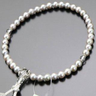 数珠 女性用 約6ミリ グレー真珠 本水晶 銀かぶせ 正絹頭付松風房 102000141 送料無料