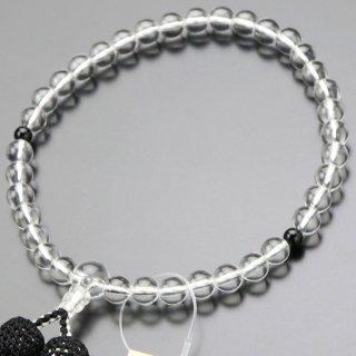 数珠 女性用 約7ミリ 本水晶 黒オニキス 正絹房 2000200900139