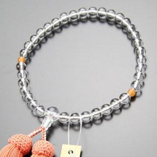 数珠 女性用 約7ミリ 本水晶 オレンジアベンチュリン 正絹房 2000200900115