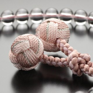 数珠 女性用 約7ミリ 本水晶 ローズクォーツ 花飾り梵天房 2000200200376