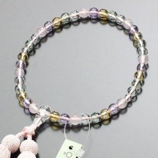 数珠 女性用 約7ミリ 128面カット ミックスクォーツ 正絹頭付松風房 102070041 送料無料