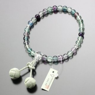 数珠 女性用 約8ミリ 蛍石 カット水晶 梵天房(抹茶色)  102070018 送料無料