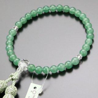 数珠 女性用 約8ミリ 印度翡翠 カット水晶 正絹2色房 2000200301660 送料無料