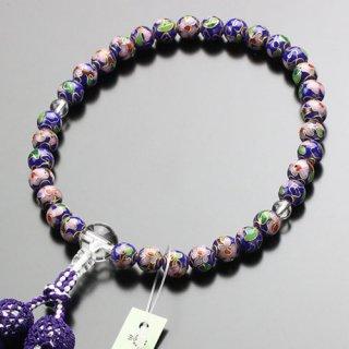 数珠 女性用 約8ミリ 七宝焼(青)本水晶 正絹2色房 2000200301622 送料無料