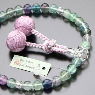 数珠 女性用 約8ミリ 蛍石 カット水晶 梵天房(藤色) 2000200200437 送料無料