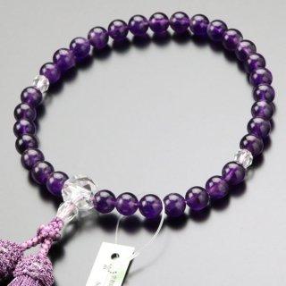 数珠 女性用 約8ミリ 紫水晶 カット水晶 正絹房 2000200401506 送料無料