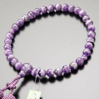 数珠 女性用 約8ミリ 石英 アメジスト 正絹房 2000200301301 送料無料