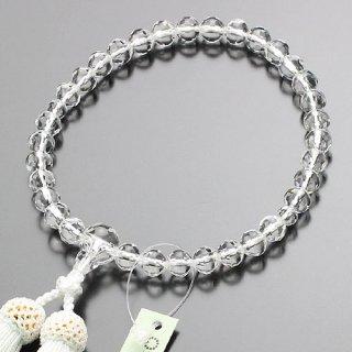 数珠 女性用 約8ミリ スターシェイプ 本水晶 正絹房 2000200401551 送料無料