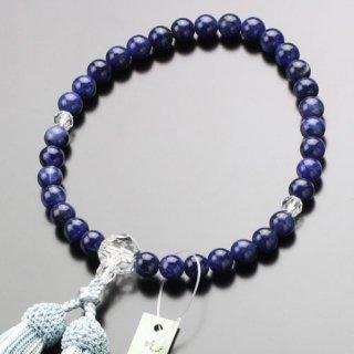 数珠 女性用 約8ミリ ソーダライト カット水晶 正絹房 2000200301677 送料無料