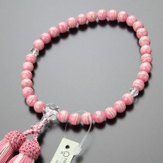 数珠 女性用 約8ミリ 上質 ロードクロサイト カット水晶 正絹2色房 102070097 送料無料