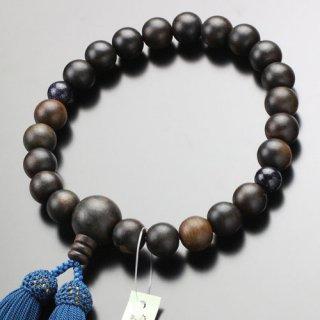 数珠 男性用 22玉 縞黒檀 2天 紫金石 正絹房 2000100900260