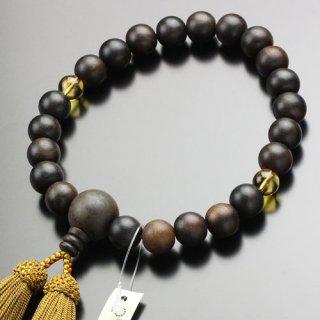 数珠 男性用 22玉 縞黒檀 2天 黄水晶 正絹房 2000100900253