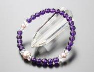 数珠 ブレスレット 約6ミリ 紫水晶 淡水パール(紫)ボタンカット水晶【腕輪念珠 天然石 アメジスト 2000800202015】