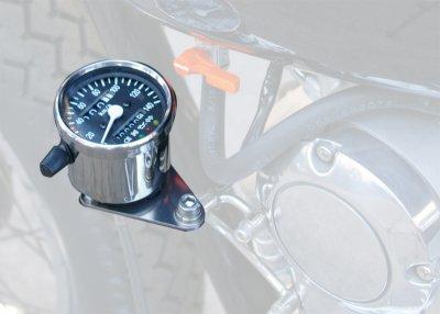 LEDインジケーター付きミニメーター 250TR/エストレヤ用配線カプラ付き 黒パネル