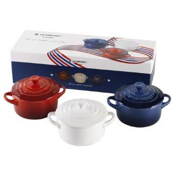 【プレゼントに最適】LE CREUSET 3個セットルクルーゼ ミニCocottes 高温焼成陶器
