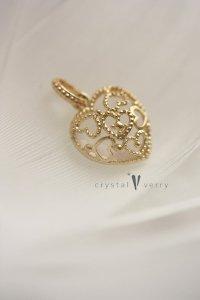 18金 イエローゴールド  ハート型 天然石×一粒ダイヤモンド リバーシブルチャーム