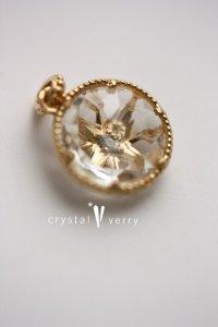 18金 イエローゴールド ラウンド型 天然石×一粒ダイヤモンド リバーシブルチャーム