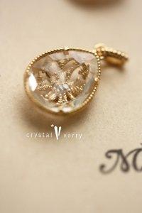 18金 イエローゴールド 雫型 天然石×一粒ダイヤモンド リバーシブルチャーム