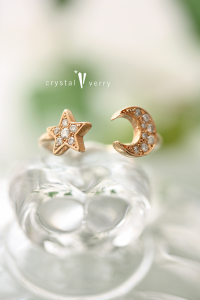 18金ピンクゴールド パヴェダイヤモンド 星月リング