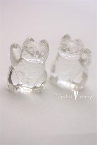 水晶 招き猫 ペア