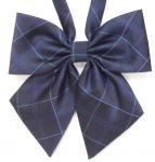 制服リボン[HT130GP3]上品な紺ベースの格子に紺のラインのスクールリボン