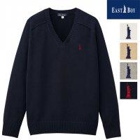 EAST BOY スクールセーター 綿混7ゲージ 紺グレーベージュ白 中学高校 S~XL