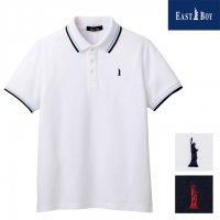 EAST BOY スクール半袖ポロシャツ ライン入り COOLMAX 女子用 ホワイト/ネイビー 9/11号