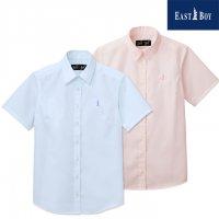 EAST BOY スクールシャツ 女子用 半袖 サックス/ピンク 女神刺繍入り 7-13号 綿100%