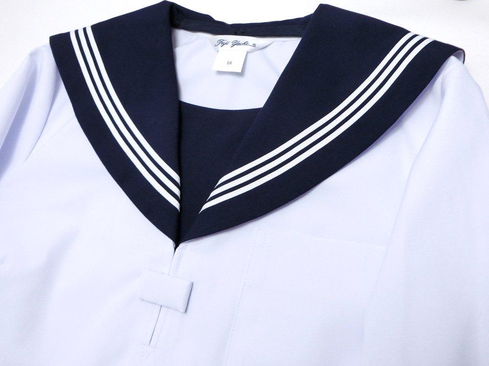夏服白半袖セーラー服(紺衿・三本線)A体