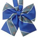 スクールリボン★KURI-ORI(クリオリ)ブルー×グリーンストライプ×クレスト柄