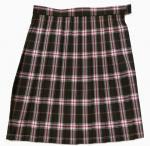 通学用スクールスカート(ビーステラ ブラウン赤ピンクチェック)W85