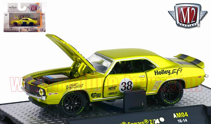 M2 Auto-Mods#4 1969 シボレー カマロ Z/28 イエロー 1:64