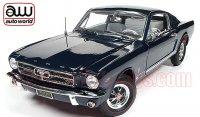 限定1002個 オートワールド 1965 フォード マスタング GT 2+2 ファストバック ダークブルー 1:18