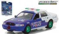 グリーンライト ホリデイ オーナメント #2 2001 フォード クラウンビクトリア ポリス インターセプター NORTH POLE 1:64