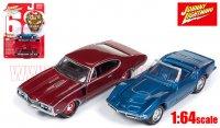 JL 1968 シボレー コルベット C3 ブルー & 1968 オールズモビル 442 W30 レッド 2台セット 1:64