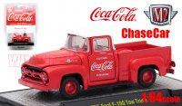 M2 コカ・コーラ #2 1956 フォード F-100 トラック レッド/ホワイト 1:64 ChaceCar