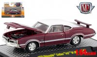 M2 DetroitMuscle #44 1970 オールズモビル カトラス 442 W30 バーガンディ/ホワイト 1:64