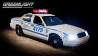 GL 2001 フォード クラウンビクトリア ポリス インターセプター NYPD 1:18 ホワイト LIGHT&SOUND