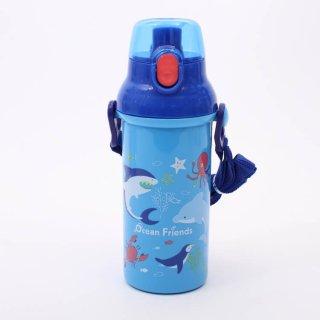 水筒 オーシャンフレンズ 食洗機対応直飲みプラワンタッチボトル Ocean Friends/PSB5SAN 軽量 軽い 割れにくい プラスチック 直飲み お弁当 ランチ 遠足 運動会 紐付き