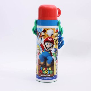 水筒 マリオ ステンレス 直飲み 超軽量 コンパクト2wayステンレスボトル スーパーマリオ/SKDC6 軽い ステンレス コップ付き 直飲み 紐付き マリオブラザーズ キャラクター 遠足