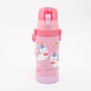 水筒 かわいい PVC3Dカバーステンボトル ユニコーン/SDPV5 軽量 軽い コンパクト ステンレス 直飲み ワンプッシュ 水筒 保冷 ベルト付き 紐付き ランチ お弁当 遠足 運動会