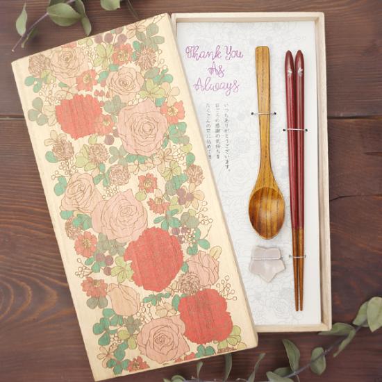 FLOWERY(秘密の花園・スプーン・箸置き白セット)
