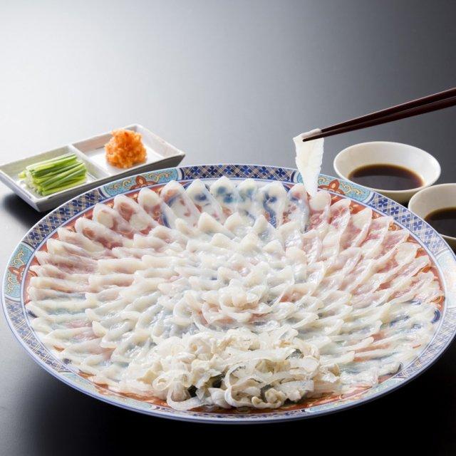 【送料無料】とらふく刺身セット(大)4〜5人前 陶器皿盛り