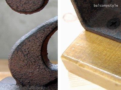アイアン質感と台座木製
