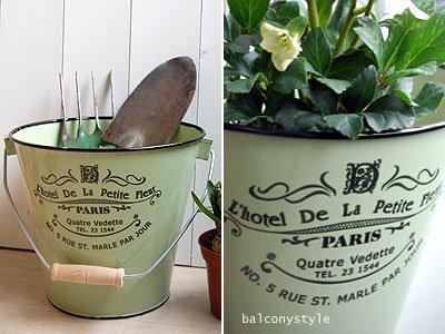 ホウロウバケツL'e hotel De La Petite Fleurグリーン