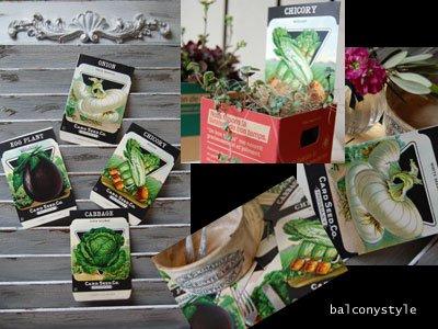野菜やハーブのアンティーク種袋デッドストック品