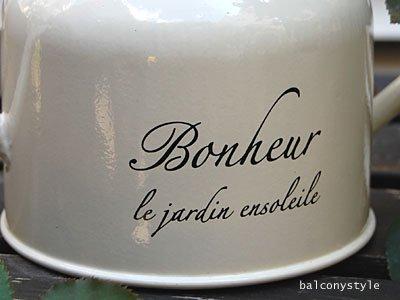 BonheurボヌールウォーターカンCreamクリーム先細りのブリキのジョーロ