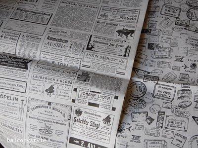 ラッピングやコラージュ、鉢カバーに使える3枚6柄の新聞風グラフィックペーパー
