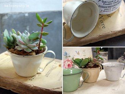 アンティークスタイルのホウロウデミカップポット2個セットクリムガーデニング雑貨鉢カバー